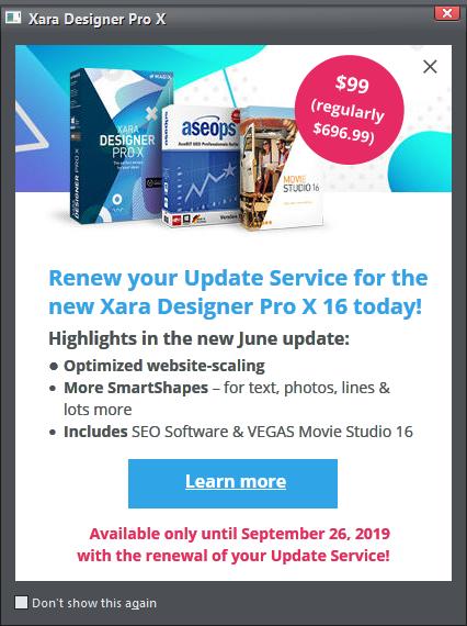 Xara Designer Update Service Page 2